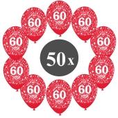 "Luftballons mit der Zahl 60, 50 Stück, Kristall, Rot, 12"", 28-30 cm"