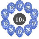 """Luftballons mit der Zahl 70, 10 Stück, Kristall, Blau, 12"""", 28-30 cm"""