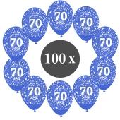 """Luftballons mit der Zahl 70, 100 Stück, Kristall, Blau, 12"""", 28-30 cm"""