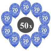 """Luftballons mit der Zahl 70, 50 Stück, Kristall, Blau, 12"""", 28-30 cm"""