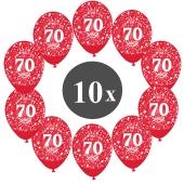 "Luftballons mit der Zahl 70, 10 Stück, Kristall, Rot, 12"", 28-30 cm"