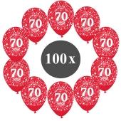 "Luftballons mit der Zahl 70, 100 Stück, Kristall, Rot, 12"", 28-30 cm"