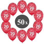 "Luftballons mit der Zahl 70, 50 Stück, Kristall, Rot, 12"", 28-30 cm"