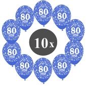 """Luftballons mit der Zahl 80, 10 Stück, Kristall, Blau, 12"""", 28-30 cm"""