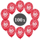 "Luftballons mit der Zahl 80, 100 Stück, Kristall, Rot, 12"", 28-30 cm"