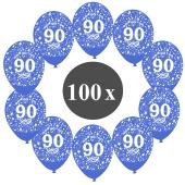 """Luftballons mit der Zahl 80, 100 Stück, Kristall, Blau, 12"""", 28-30 cm"""