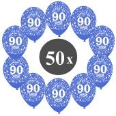 """Luftballons mit der Zahl 80, 50 Stück, Kristall, Blau, 12"""", 28-30 cm"""