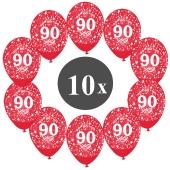 "Luftballons mit der Zahl 80, 10 Stück, Kristall, Rot, 12"", 28-30 cm"