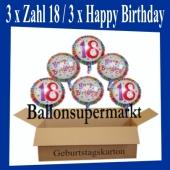 Luftballons mit Helium zum 18. Geburtstag, 3 Luftballons Happy Birthday und 3 Luftballons mit der Zahl 18