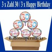 Luftballons mit Helium zum 30. Geburtstag, 3 Luftballons Happy Birthday und 3 Luftballons mit der Zahl 30