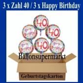 Luftballons mit Helium zum 40. Geburtstag, 3 Luftballons Happy Birthday und 3 Luftballons mit der Zahl 40