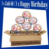 Luftballons mit Helium zum 60. Geburtstag, 3 Luftballons Happy Birthday und 3 Luftballons mit der Zahl 60