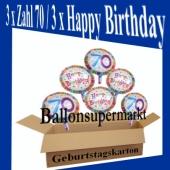 Luftballons mit Helium zum 70. Geburtstag, 3 Luftballons Happy Birthday und 3 Luftballons mit der Zahl 70