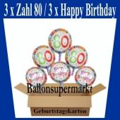 Luftballons mit Helium zum 80. Geburtstag, 3 Luftballons Happy Birthday und 3 Luftballons mit der Zahl 80