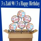 Luftballons mit Helium zum 90. Geburtstag, 3 Luftballons Happy Birthday und 3 Luftballons mit der Zahl 90