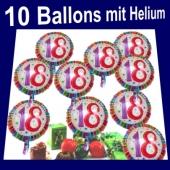 Luftballons Zahl 18 zum 18. Geburtstag, 10 Ballons mit Helium zum Versand im Karton auf die Geburtstagsparty