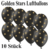 Luftballons zu Silvester und Neujahr, Golden Stars, schwarz, 10 Stück