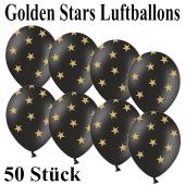 Luftballons zu Silvester und Neujahr, Golden Stars, schwarz, 50 Stück