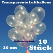 Luftballons Latex 30cm Ø Transparent 10 Stück