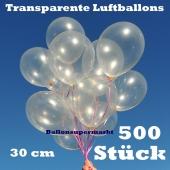 Luftballons Transparent, 30 cm, 500 Stück