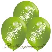 Motiv-Luftballons Willkommen, apfelgruen, 3 Stueck