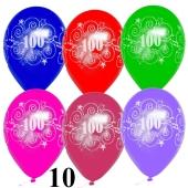 Luftballons Zahl 100 zum 100. Jubiläum und Geburtstag, 10 Stück