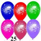 Luftballons Zahl 100 zum 100. Jubiläum und Geburtstag, 25 Stück