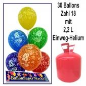 30 Luftballons Zahl 18 zum 18. Geburtstag mit dem Helium-Einwegbehälter