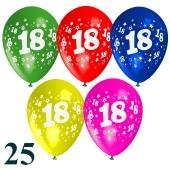 Luftballons Zahl 18, Latexballons zum 18. Geburtstag, 25 Stück