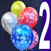 Luftballons Zahl 2, Latexballons in 27,5 cm, 6 Stück