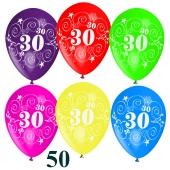 Luftballons Zahl 30 zum 30. Geburtstag, 50 Stück
