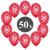 "Luftballons mit der Zahl 30, 50 Stück, Kristall, Rot, 12"", 28-30 cm"