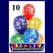 Luftballons aius Latex mit der Zahl 30, zum 30. Geburtstag, 10 Stück