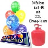 30 Luftballons Zahl 40 zum 40. Geburtstag mit dem Helium-Einwegbehälter