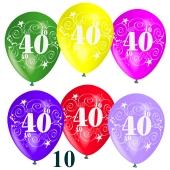 Luftballons Zahl 40 zum 40. Geburtstag, 10 Stück