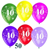 Luftballons Zahl 40 zum 40. Geburtstag, 50 Stück