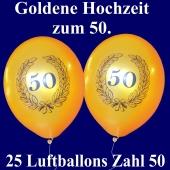 Luftballons mit der Zahl 50 im Lorbeerkranz