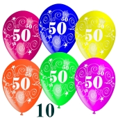 Luftballons Zahl 50 zum 50. Geburtstag, 10 Stück