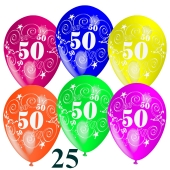 Luftballons Zahl 50 zum 50. Geburtstag, 25 Stück