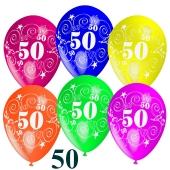 Luftballons Zahl 50 zum 50. Geburtstag, 50 Stück