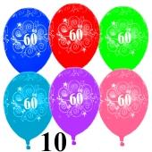Luftballons Zahl 60 zum 60. Geburtstag, 10 Stück