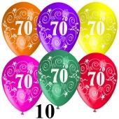 Luftballons Zahl 70 zum 70. Geburtstag, 10 Stück