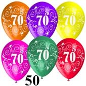 Luftballons Zahl 70 zum 70. Geburtstag, 50 Stück