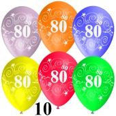 Luftballons Zahl 80 zum 80. Geburtstag, 10 Stück