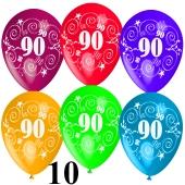 Luftballons Zahl 90 zum 90. Geburtstag, 10 Stück