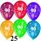 Luftballons Zahl 90 zum 90. Geburtstag, 25 Stück