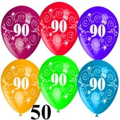Luftballons Zahl 90 zum 90. Geburtstag, 50 Stück