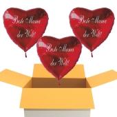 Beste Mama der Welt! Luftballons in Herzform aus Folie mit Helium zum Muttertag, 3 Stück rote Heliumballons