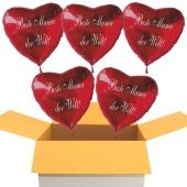 Beste Mama der Welt! Luftballons in Herzform aus Folie mit Helium zum Muttertag, 5 Stück rote Heliumballons