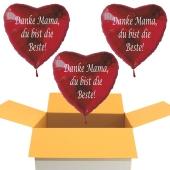 Danke Mama, du bist die Beste! 3 Luftballons in Herzform aus Folie mit Helium zum Muttertag